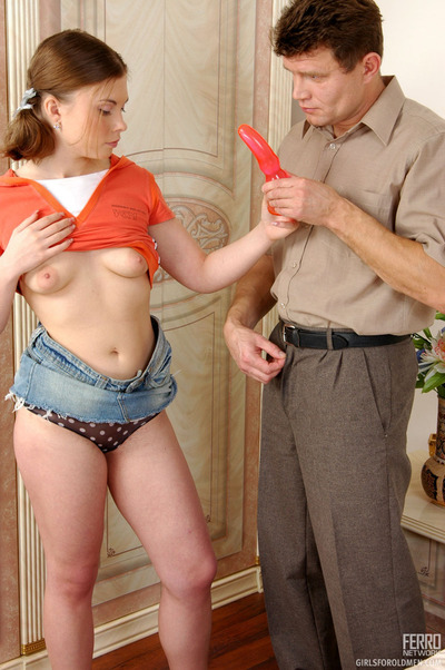 Doll-faced girlie having an ripened guy licking and enforcement her inexpert fur pie