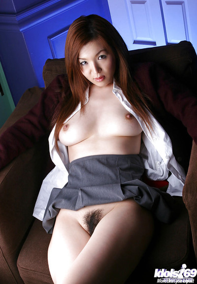 Nice-looking Chinese schoolgirl Mai Hanano striptease off her uniform