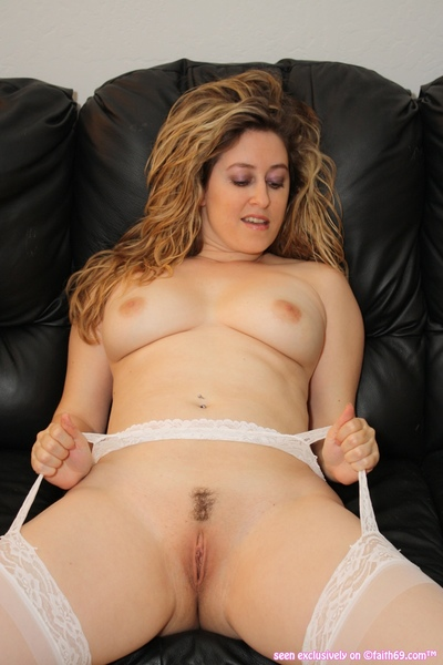 Faith Is Lascivious In Untamed White Underclothes and Nylons