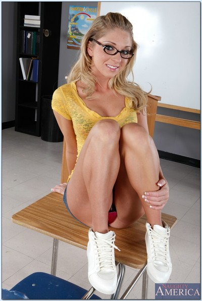 Gorgeous college chicito in glasses Jaelyn Fox striptease from pink undies