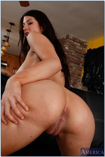 Fuckable brunette hair girl Karina White striptease and posing nude