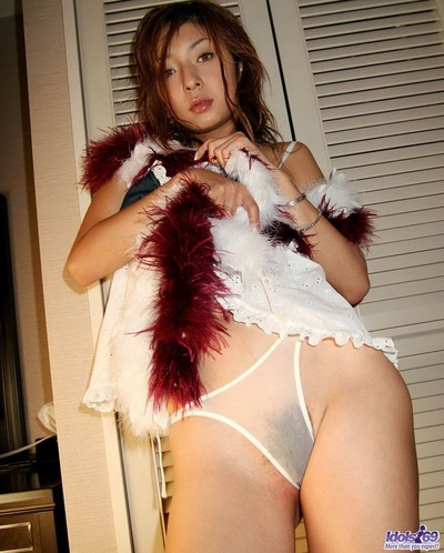 Japanese pretty nao standing in appealing underclothes shows breasts