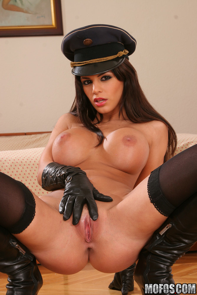 Angelika Swarthy striptease off her uniform and widening her covert legs