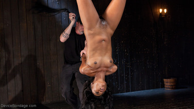 Chanell embarks on in an inverted ankle suspension. her body is attacked with a lash