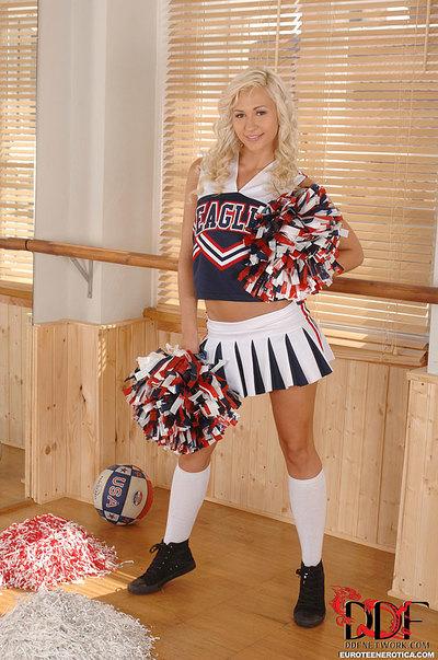 Blond Euro cheerleader Tracy Tasty flaunting useful coed waste in socks