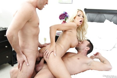 Giant boobed blond MILF Courtney Taylor lovely hardcore DP with ATM finish