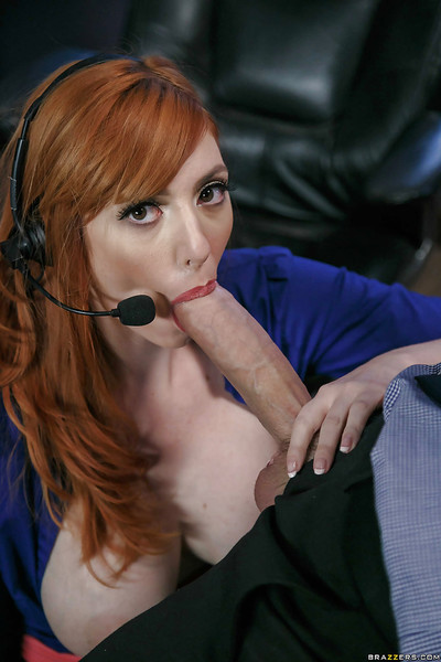 Redhead office worker Lauren Phillips bares gigantic pantoons whilst orall-service sports doing