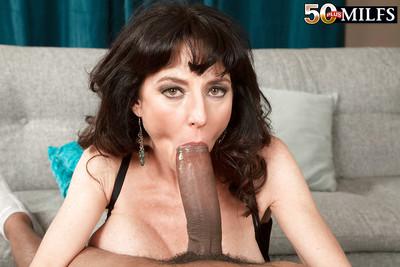 Buxom over Fifty seasoned MILF Karen Kougar giving large wang interracial oral sex