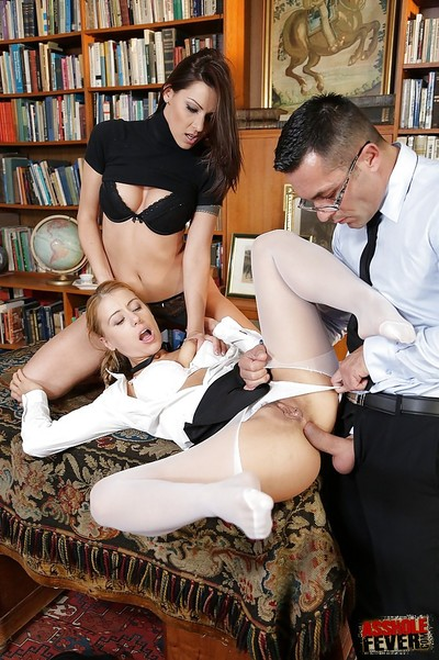 Cindy Require and Nikky Thorne participate anal whereas in a two men plus one female