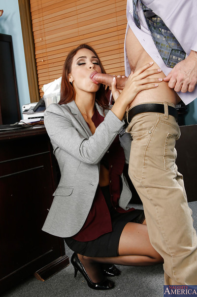 Gregarious princess with massive zeppelins Jasmine Caro pleases knobs in office room