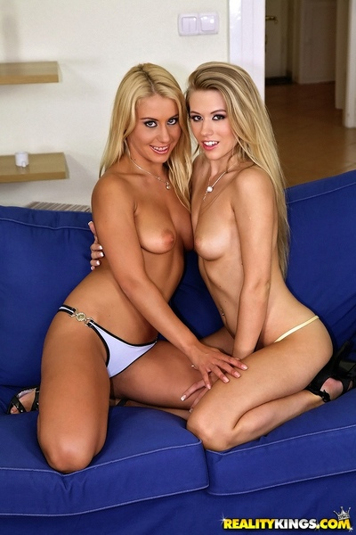 Clammy european lesbian hotties Michelle Perspired & Nikky Thorne exposing wastes