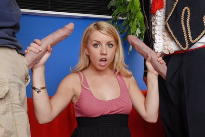 Lustful infant Lexi Belle sucks and copulates double extraordinaryly largest jocks