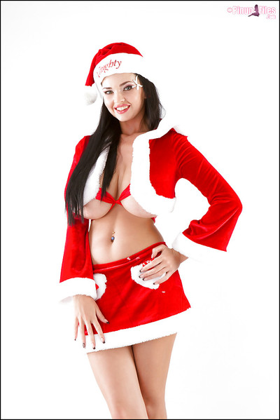 Buxom Euro girl Sha Rizel lets her severe hooters loose for Christmas