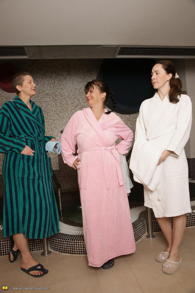 Full-grown ladies having relaxation time at the sauna
