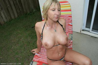 Large busted MILF gives a magnificent cock stroking and accepts bukkaked outdoor