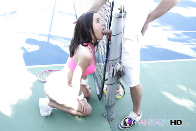 Hungry dick-sucking teenager Dillion Harper is sucking this strapon