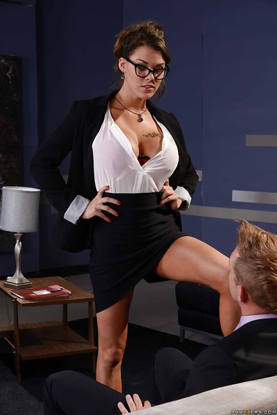 Engaging titsy dark hair Peta Jensen blowing a inflexible rod in glasses