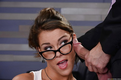 Engaging titsy dark hair Peta Jensen blowing a inflexible rod in glasses