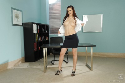 Slim European hottie Mira stripped off and masturbates in office room