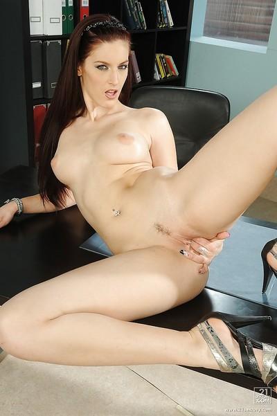 Slim European hottie Mira stripped off and masturbates in office room
