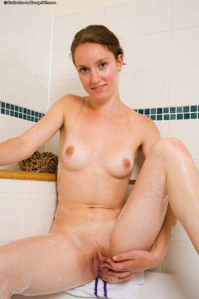 Dainty young with nice wazoo grand washroom and washroom and caressing she