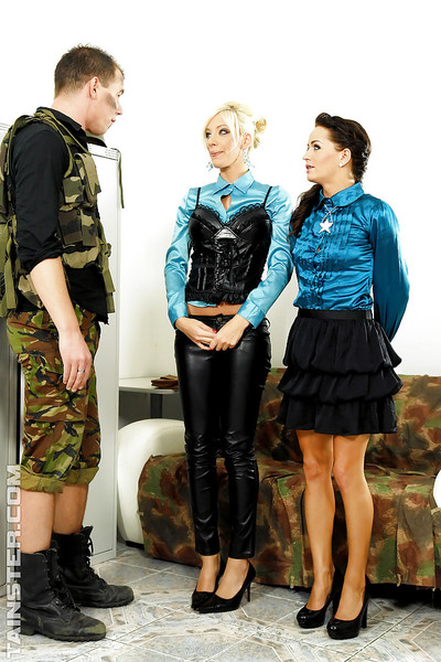 Adel Sunshine & Bella Morgan participate a absolutely dressed FFM groupsex