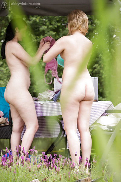 Twofold obese babes being spied on even as getting covered in the woods