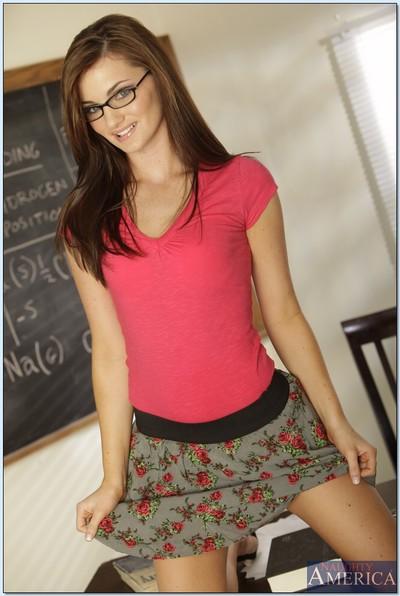 College princess in glasses Lily Carter erotic dance and rubbing bald uterus