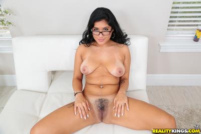 Adorable brown hair MILF Selena Kyle enjoying a dong breaking through her pussy
