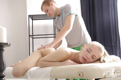 Golden-haired Euro young Olivia Grace sporting anal gape right after hardcore massage fucking