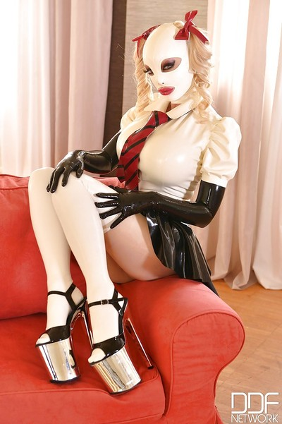 European fixation illustration Latex Lucy toying and jacking off in high heels