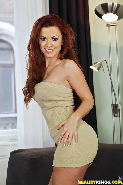 Redhead european pretty Geena Acquire tempting off her clothing and strings