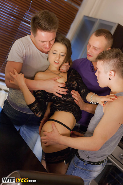 Male+Male+Female fucking scene with dual fellow and sticky queen Taissia Shanti