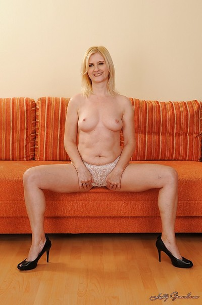 Well-graced ripened in underclothes getting as was born and exposing her wet crack
