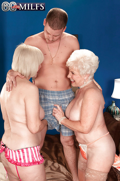 Double ache grannies in underware accept busy with a massive ramrod of a younger stallion