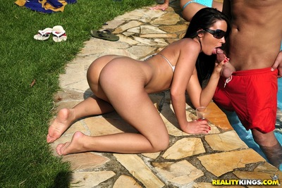 Excited honeys giving blowjobs and smoking hardcore at the pool gathering