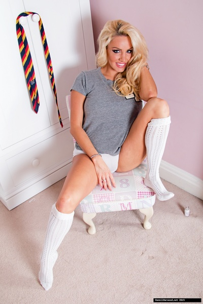 Pervy fairy-haired Dannii Harwood shows off her flawless socked feet, flawless colossal scones and untamed white panties!
