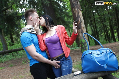 Juvenile dark hair Kira loves having fucking action outdoors with her friend