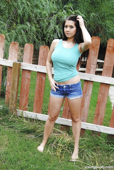 Infant girl Chrissy B lets slip gigantic ordinary bazookas outdoors in advance of playing with dick