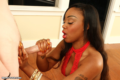 Brown fascinating luv wanking giant stick and gain jism on her giant whoppers