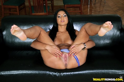 Untamed European angel Tina shows her mammoth milk sacks and stretches legs in heels