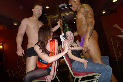 Real young gathering beauties swallow and fuck a stud stripper in this awesome real banging gathering activity