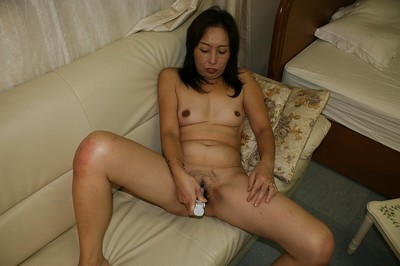 Excited oriental elderly Masae Funakoshi erotic dancing and playing with marital-devices