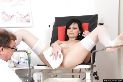Sassy dark hair acquires her snatch examed and cheerful with different dildos