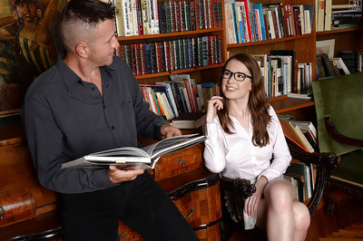 Nerdy library worker Nadia Bella exquisite stream of cum on outstretched tongue