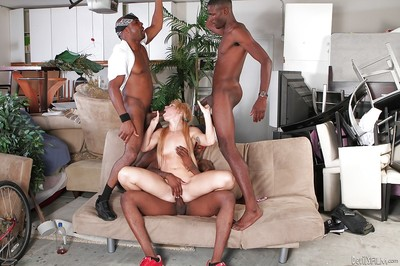 Pretty blond Summer Daniels is being bonked in interracial scene