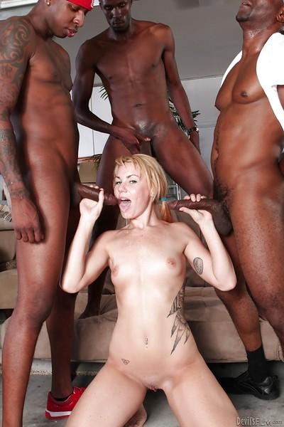 Pretty blond Summer Daniels is being bonked in interracial scene