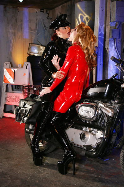 Perspired lesbian babes in latex Aradia & Charlotte E make some obsession doing