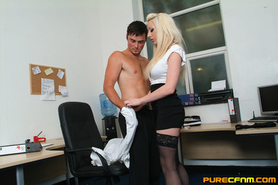 Charmed by office babe, fresh dude sub is wanked, sucked and filmed in the stripped by lasses