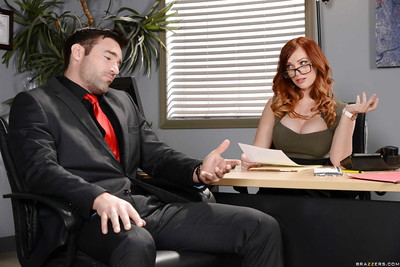 Redheaded office worker Dani Jensen using vast mambos to give titjob